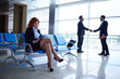 canvas print picture - Business people in airport