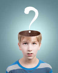 Boy with question mark under his opened head. Concept
