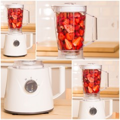 fresh strawberries in white Blender on a wooden table