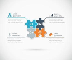 Puzzle piece infographic options business concept vector