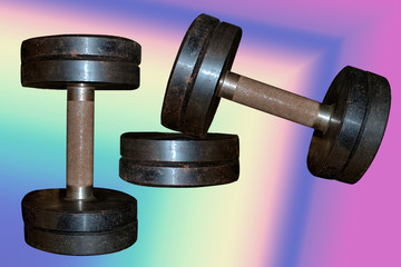 two dumbbells