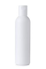 Blank white plastic cosmetics or shampoo bottle