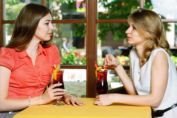 Two women talking in the cafe