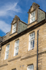 Front view of vintage facades in Edinburgh