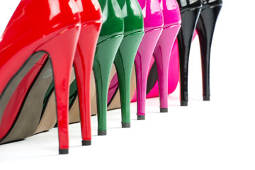 close-up of colorful high heels shoes