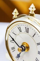 Closeup of table period clock face