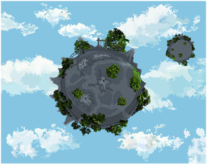 Two round of land with trees in the sky with clouds