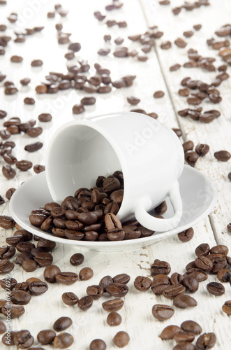 canvas print picture freshly roasted coffee beans and cup