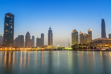 Downtown of Dubai at dusk, UAE