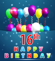 16 year Happy Birthday Card with balloons and ribbons