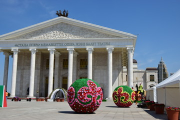 National opera in Astana with some street decoration in front