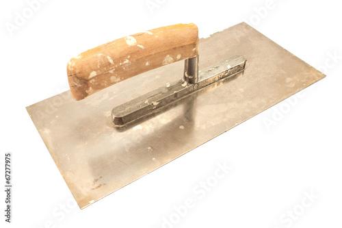 Used finishing trowel isolated on white