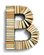 canvas print picture - Letter B formed from the page ends of books