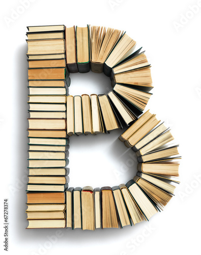 canvas print picture Letter B formed from the page ends of books