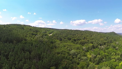 wood on hill .Aerial  rear fly