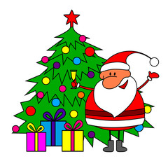 Merry Christmas - Santa Claus and Christmas tree