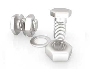 stainless steel bolts with a nuts and washers