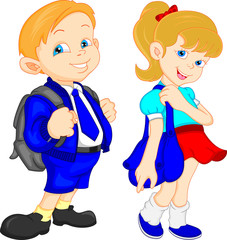 school boy and girl with bag