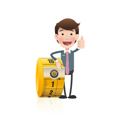 Business people with tape measure. Vector design.