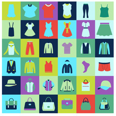 Flat icons set of fashion clothing and bags