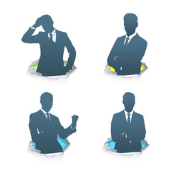 Set of silhouette of businessman. Vector design.