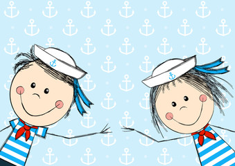 Funny sailor kids for Your design