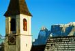 canvas print picture - Alte Kirche mit Schlern in Südtirol