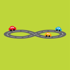 Road in shape of infinity sign and cartoon cars