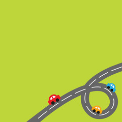 Background with loop road and cartoon cars
