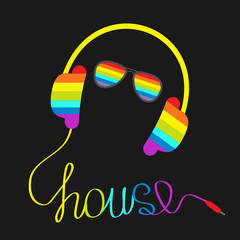 Rainbow headphones cord in shape of word house and glasses