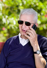 Old man with cellphone