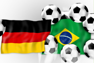 Germany Brazil Flag and 7 Balls