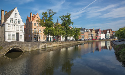 Bruges - canal and Langerei street.