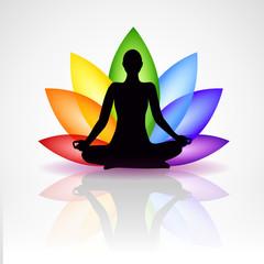 meditation silhouette bunte blume