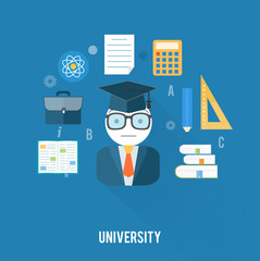 University concept with item icons