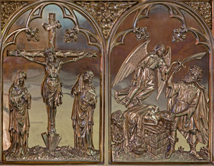 Bruges - Crucifixion and the Offer of Abraham metal relief