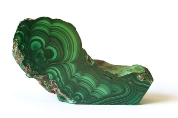 Polished malachite from the Congo. 13cm long.