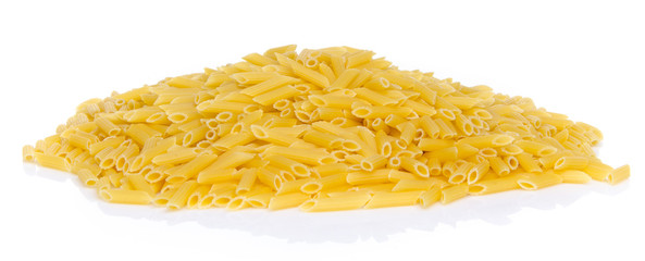 Mound of uncooked pasta penne