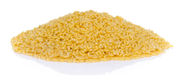 Mound of uncooked pasta elbow macaroni
