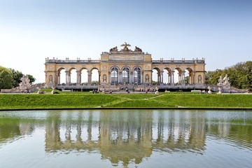 Schonbrunn gardens and Gloriette pavilion in Vienna