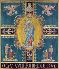 Bruges - Madonna on the old flag in st. Giles church
