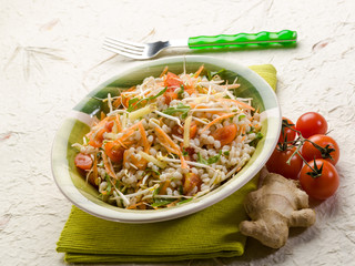 barley salad with ginger carrots arugula and tomatoes