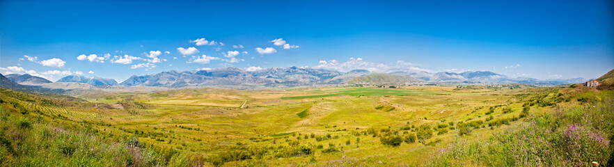 Panoramic view of  Gjirokaster region, Albania.