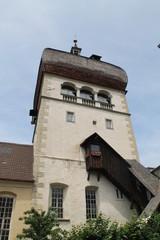 Ein Kirchturm in Bregenz