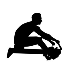 Man exercise on rowing machine vector illustration