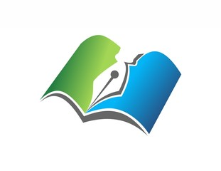 education logo,book, pen, notes, science technology digital