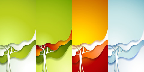 Set of abstract paper tree.
