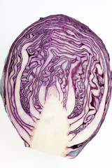 Red Cabbage cross section on White Background