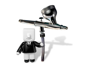 3d business man sitting on the airbrush . 3D Square Man Series.