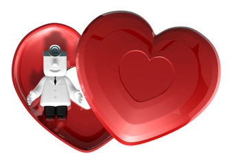 3d medical doctor lying in red heart box. 3D Square Man Series.